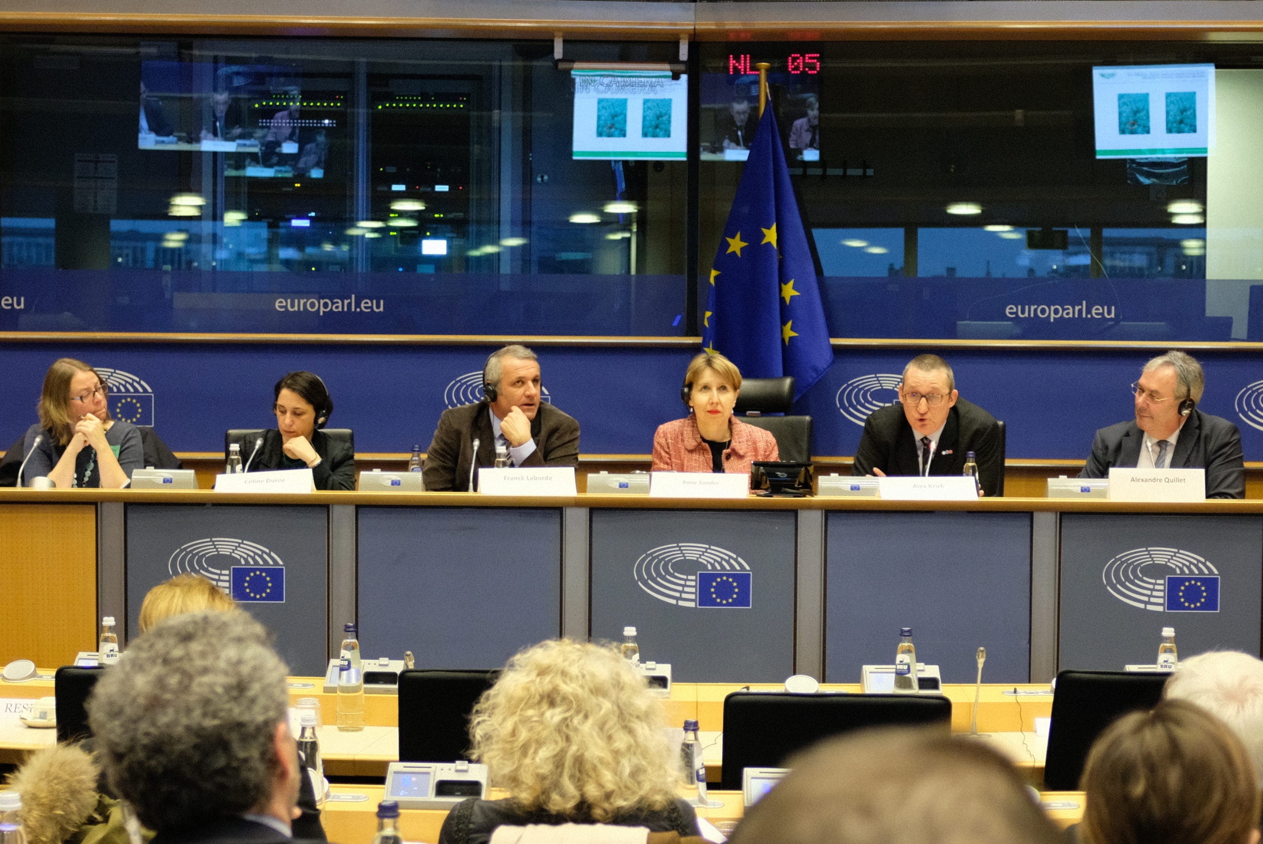 Vicky Marissen, Céline Duroc, Frank Laborde, MEP Anne Sander, Alex Krick & Alexandre Quillet, speakers during Agriculture & Progess's conference at the European Parliament on 23rd of January 2020